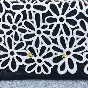 Bags - Textured Clutch With Stylish Black And White